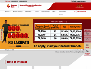 saraswatbank.com screenshot