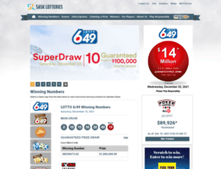 sasklotteries.ca screenshot