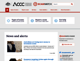 scamwatch.gov.au screenshot