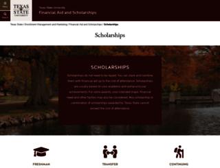 scholarships.txstate.edu screenshot