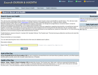 searchquranhadith.com screenshot