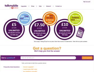 self-help.talkmobile.co.uk screenshot
