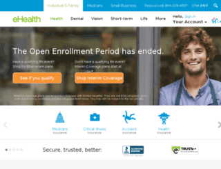 services.ehealthinsurance.com screenshot