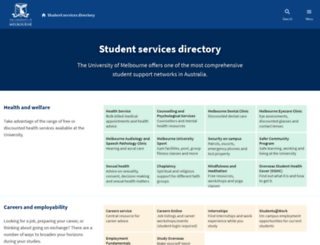 services.unimelb.edu.au screenshot