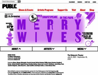 shakespeareinthepark.org screenshot
