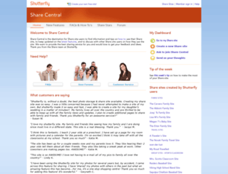sharecentral.shutterfly.com screenshot