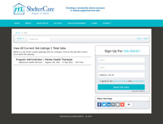 sheltercare.applicantpool.com screenshot