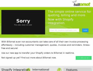 shopify.billomat.com screenshot