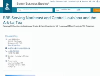 shreveport.bbb.org screenshot