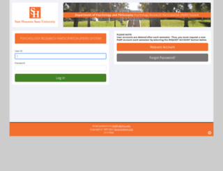 shsu.sona-systems.com screenshot