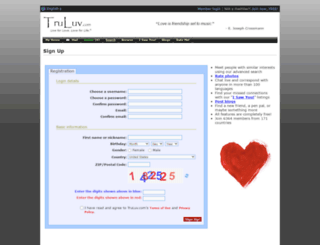signup.truluv.com screenshot
