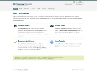 sims.presidency.edu.bd screenshot