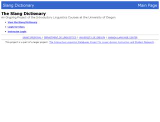 slang.uoregon.edu screenshot