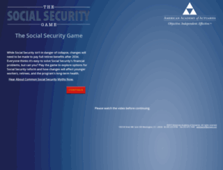 socialsecuritygame.actuary.org screenshot