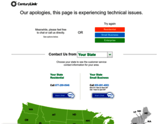 sorry.centurylink.com screenshot