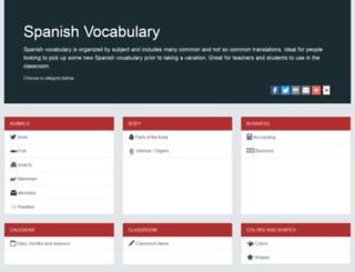 spanishvocabulary.ca screenshot