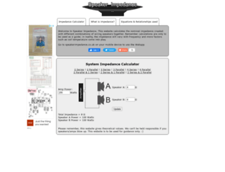 speakerimpedance.co.uk screenshot