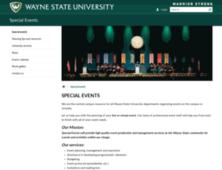 specialevents.wayne.edu screenshot