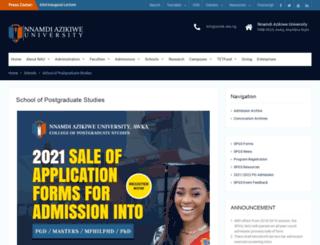 spgs.unizik.edu.ng screenshot