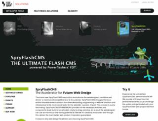 spryflashcms.powerflasher.com screenshot