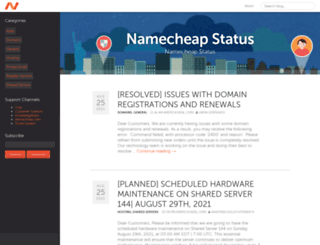 status.namecheap.com screenshot