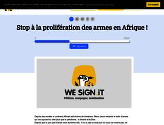 stoparmsinafrica.wesign.it screenshot