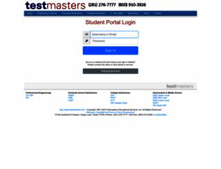student.testmasters.com screenshot