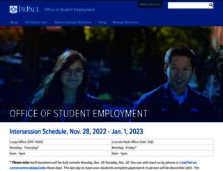studentemployment.depaul.edu screenshot