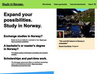 studyinnorway.no screenshot