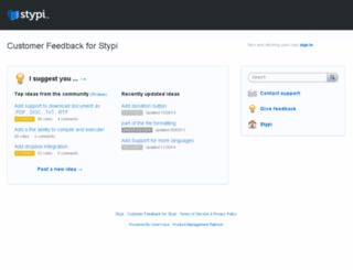 stypi.uservoice.com screenshot
