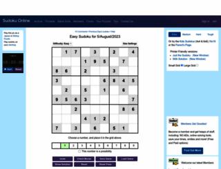 sudoku.com.au screenshot