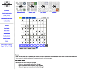 sudokupuzzle.org screenshot