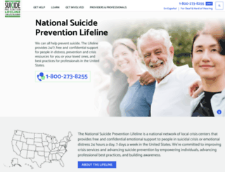 suicidepreventionlifeline.org screenshot