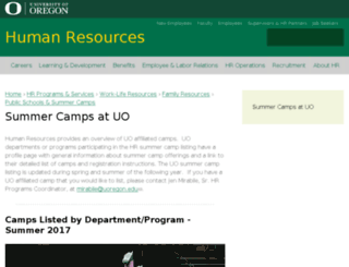 summercamps.uoregon.edu screenshot