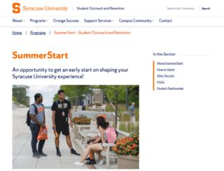 summerstart.syr.edu screenshot