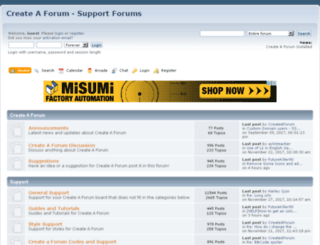 support.createaforum.com screenshot