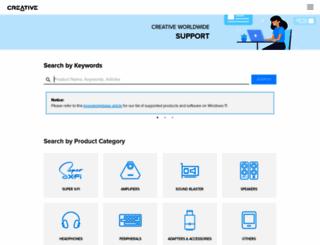 support.creative.com screenshot