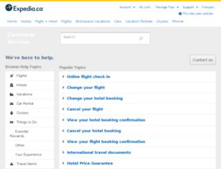 support.expedia.ca screenshot