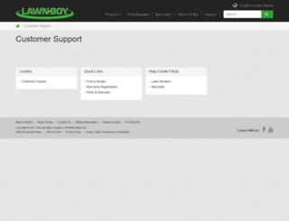 support.lawnboy.com screenshot