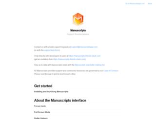 support.manuscriptsapp.com screenshot