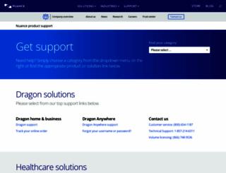 support.nuance.com screenshot
