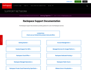 support.rackspace.com screenshot