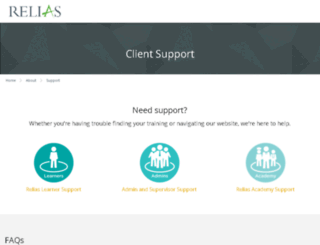 support.reliaslearning.com screenshot