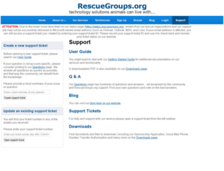 support.rescuegroups.org screenshot