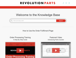 support.revolutionparts.com screenshot