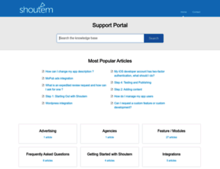 support.shoutem.com screenshot
