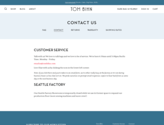 support.tombihn.com screenshot