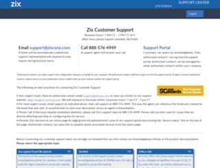 support.zixcorp.com screenshot