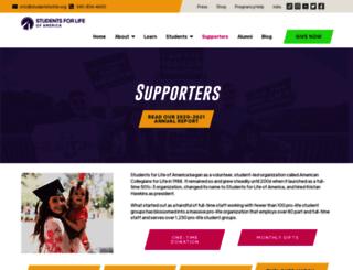 supporters.studentsforlife.org screenshot