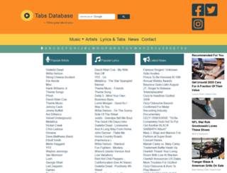 tabs-database.com screenshot